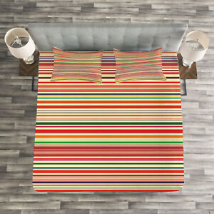 Retro Colorful Bands Print Stripes Quilted Bedspread /& Pillow Shams Set