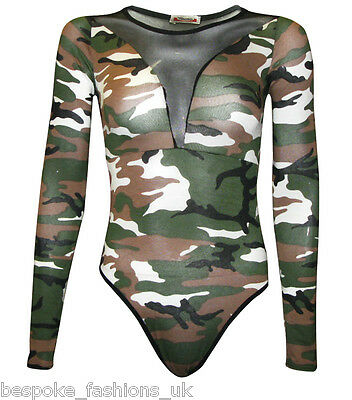 Womens Front & Back Half Mesh Insert Long Sleeve Bodysuit Leotard Plus Size 8-22