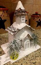Woodland Led White Church Village Christmas Snow Coated Bavarian Centerpiece