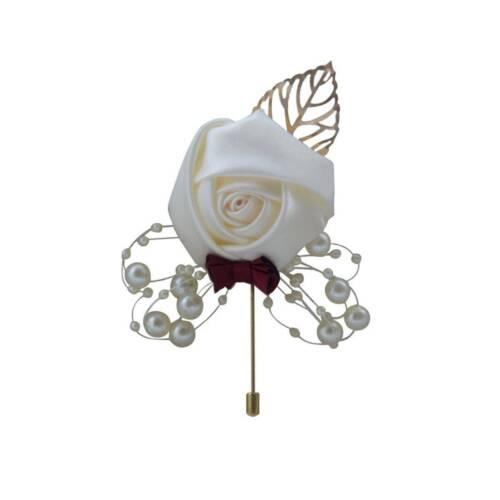 Wedding Bride Ribbon Rose Corsage Groom Boutonniere Lapel Pin Brooch Present
