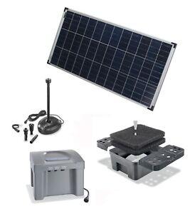 80 Solar Teich Bachlauf Filter Tauch Pumpe Gartenteich Akku Batterie Wasserfall