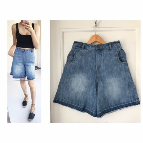 Lang Leg Scanlan Wide High Denim S Sz Shorts Waisted Theodore Nwt 7RHTwxCR