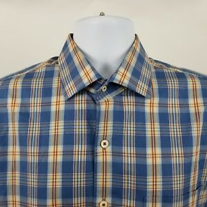 Peter-Millar-Mens-Blue-Multi-Color-Plaid-Check-L-S-Dress-Button-Shirt-Sz-Large-L