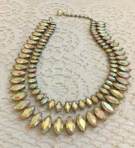 Dazzling-Vtg-Juliana-Clear-Aurora-Borealis-Rhinestone-Collar-Necklace-2-Strand