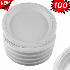 Image is loading 100-White-9-inch-Plastic-Party-Plates-Disposable-  sc 1 st  eBay & 100 White 9 inch Plastic Party Plates Disposable Dinner Wedding ...