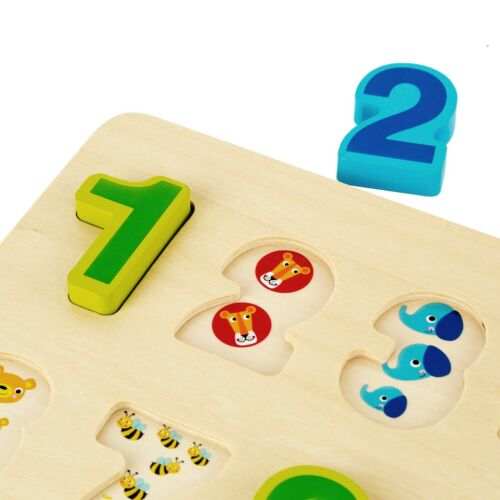 Educational Math Toys for Toddlers /& Preschooler Wooden Number Puzzle 10 Pieces