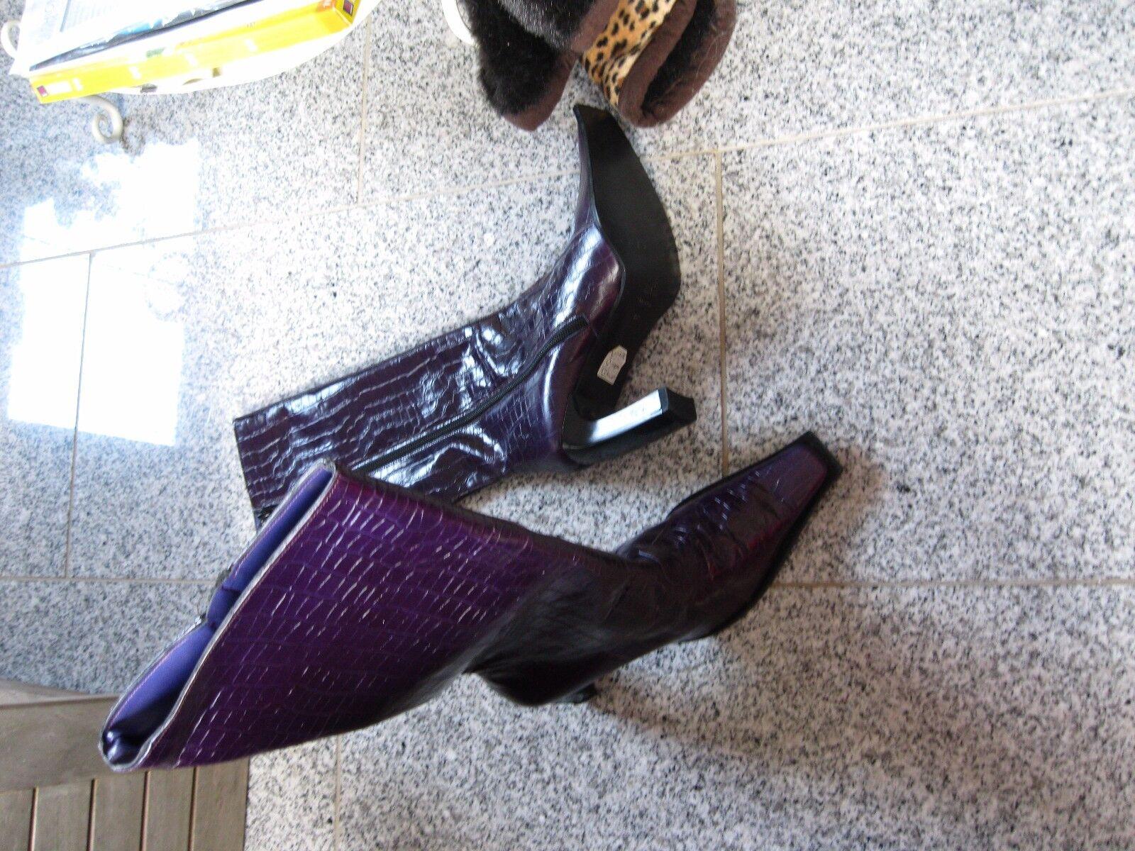 Italiana botas de cuero krokostyle talla 37 púrpura nuevo párrafo párrafo párrafo alta  orden ahora disfrutar de gran descuento