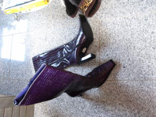 New Heel in High 37 Stivali pelle italiana Gr Purple Krokostyle 0wAqzP