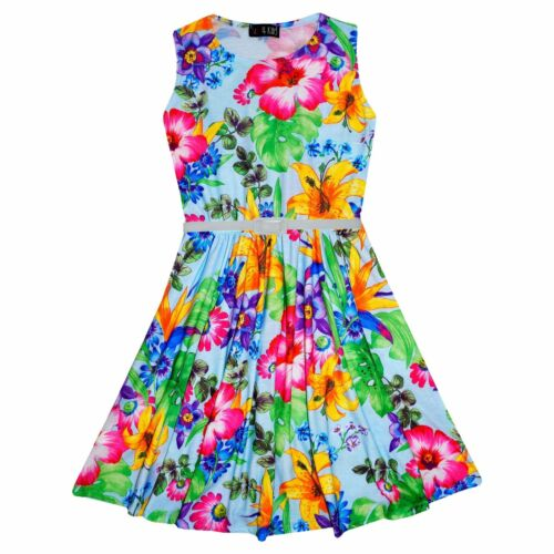 Girls Skater Dress Kids Green Floral Print Summer Party Dresses Age 7-13 Years