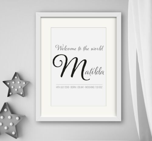 GIRL New Birth Newborn Personalised Name Print Christening Gift Nursery WELCOME