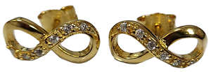 Infinity Stud Earrings 925 Sterling Silver Gold Overlay Cubic Zirconia Stones