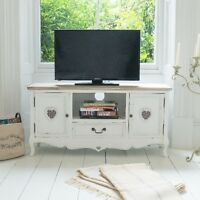 Shabby Chic Antique Tv Stand Unit Furniture White Cabinet Drawer Shelf Storage