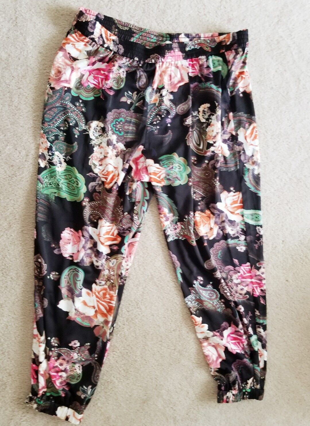 BOSTON PROPER SILKY FLORAL JOGGER PANTS SZ XL 14 16