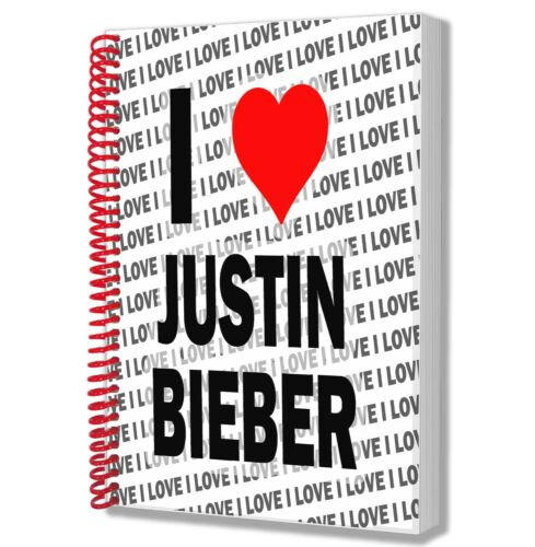 I Love Justin Bieber A5 Notebook Pad Diary Drawings Birthday Christmas Gift