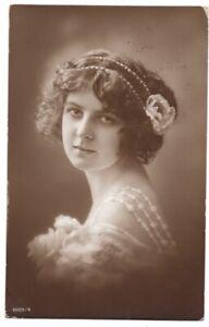 100320-VINTAGE-RPPC-POSTCARD-PRETTY-LADY-WOMAN-1913