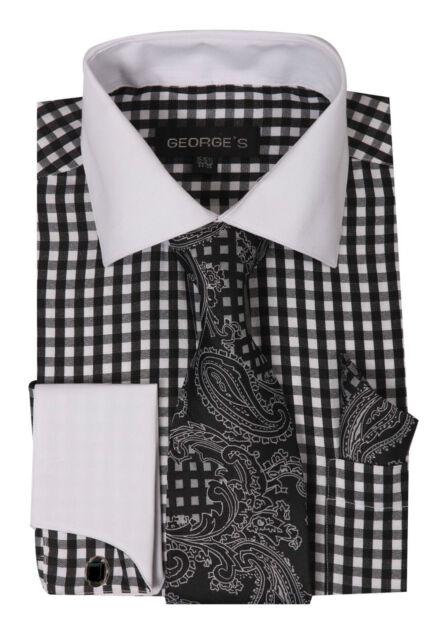 Men's  Checkered Pattern Dress Shirt French Cuff With Matching Cuff-links 15~20