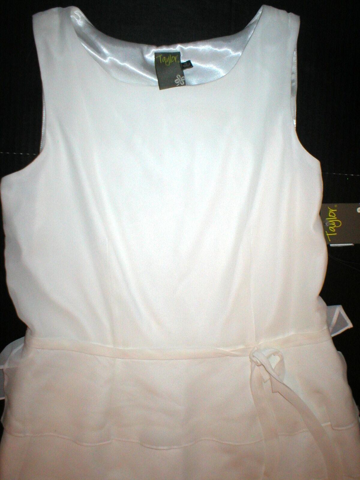 Ny  269 kvinnor Taylor Dress Silk Slieveless 10 glidasrs vit Cream Ivory NWT