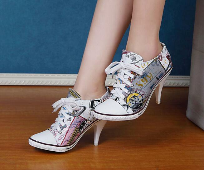 NEW Womens Fashion Floral High Heel Lace Up Round Toes High Quality shoes T463