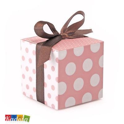 10 Scatole Porta Confetti Rosa Pois + Nastro Marrone - Box Bomboniere Matrimonio