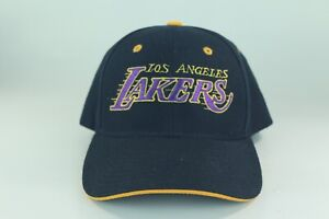 cb157b41e3ec2f Vintage 90s Los Angeles Lakers Hat Strapback Script Cap Black Purple ...