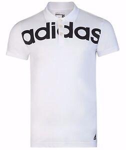 New-Mens-Adidas-Climalite-Linear-Polo-Shirt-T-Shirt-Top-White
