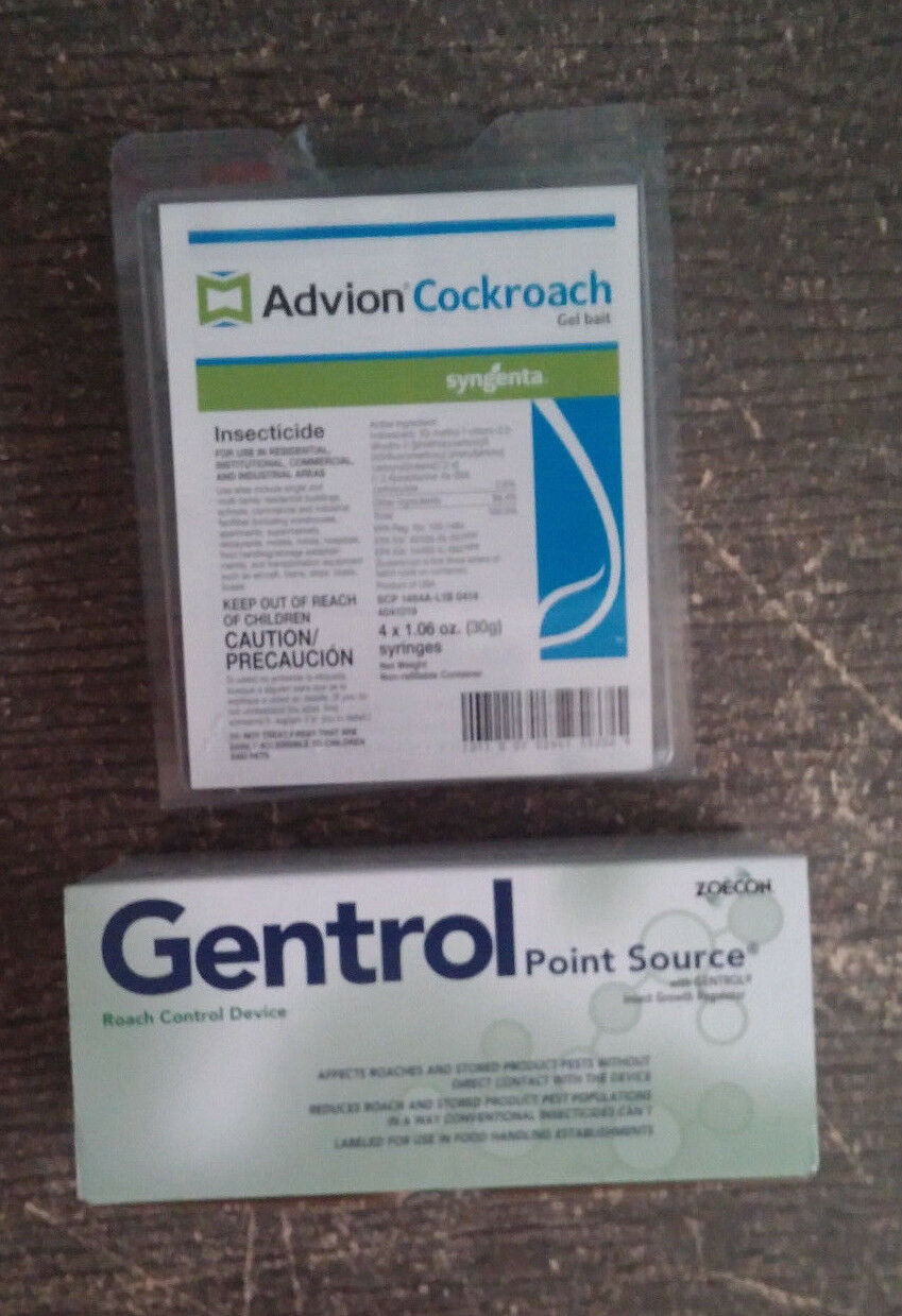 4 tubos Advion CuCocheacha alemana Roach control Cebo & 20 fuente puntual Gentrol IGR