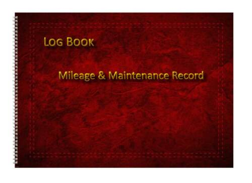 Vehicle Mileage Record Log Book Deep Red Leather Effect A6 /& A5 Landscape Sizes