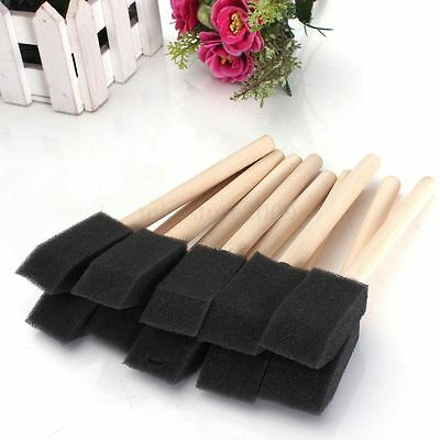 20pcs 1'' (25mm) Foam Sponge Brushes Wooden Handle Painting Drawing Craft Draw