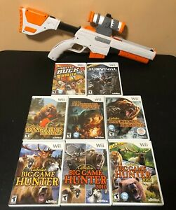 Nintendo-Wii-Cabelas-Top-Shot-Elite-Rifle-Gun-With-Scope-and-8-Cabela-039-s-Games