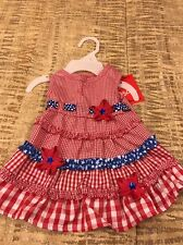 SASSY RASCAL by MAX'S CLOSET Red Check Seersucker 4TH OF JULY DRESS Puppy/Dog M
