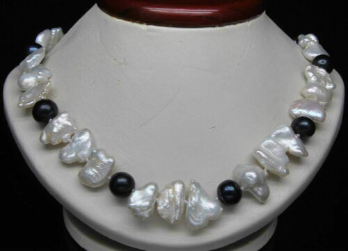 """Natural White Biwa Pearl with 9-10mm AAA Round black pearl necklace 18/"""""""