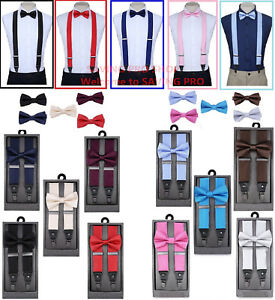 SUSPENDERS-and-BOW-TIE-COMBO-SET-Tuxedo-Classic-Wedding-Costume-Tux-Prom