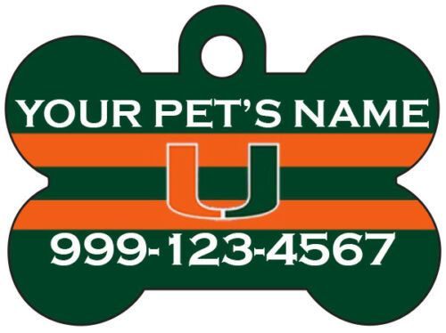 Miami Hurricanes Custom Pet Id Dog Tag Personalized w// Name /& Number