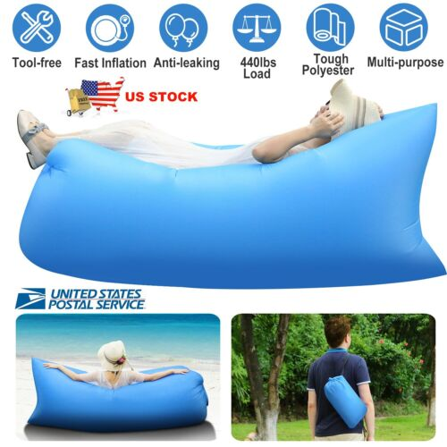 Inflatable Lounger Air Sleeping Bag Lazy Chair AirBed Beach Sofa Bed Water Float