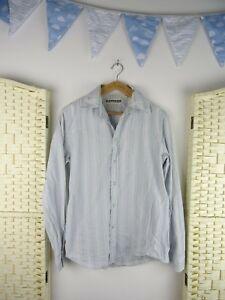 Express-Vintage-Puro-Algodon-Vaquero-Occidental-Cierre-A-Presion-Camisa-Azul-a-Rayas-XS