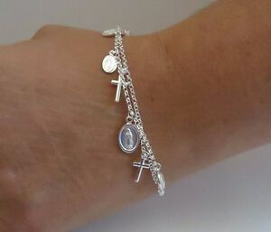 DIAMOND CUT BEADS BRACELET W/ ROSARY & CROSS HANGING CHARMS/925 STERLING SILVER