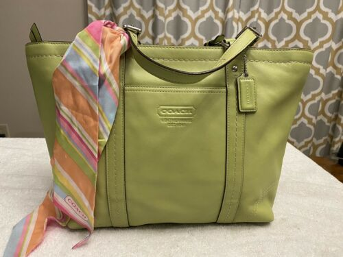 Coach Gallery Lime Green Leather Tote Shoulder Bag