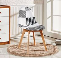 Jamie Patchwork Chair - Dining Room Black White Vintage/Retro Style, Solid Wood