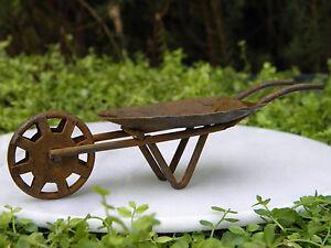 Miniature Dollhouse FAIRY GARDEN Furniture Rust Tin Wheelbarrow
