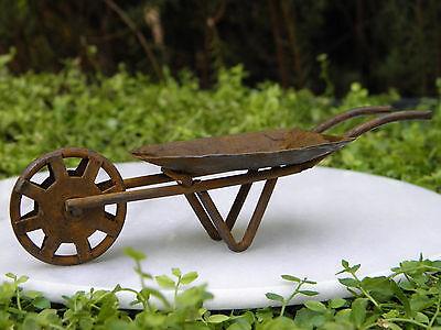 Miniature Dollhouse FAIRY GARDEN Furniture ~ Rust Tin Wheelbarrow ~ NEW