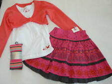 Pumpkin Patch Butterfly Floral Pink/Gray/Coral Top/Bolero/Skirt/Tights Set NWT 7