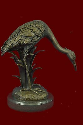 Great Blue Heron Crane Shorebird Water Bird Lover Bronze Marble Statue Sculpture
