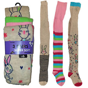 Details about Girls Cotton Tights Socks Set 3 Pairs Lycra Bunny Rabbit Super Soft UK 1 8 Years