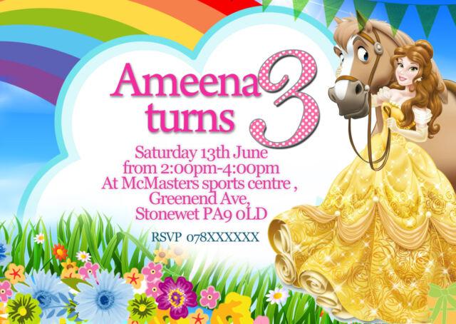 personalised birthday party invitations disney princess belle 8
