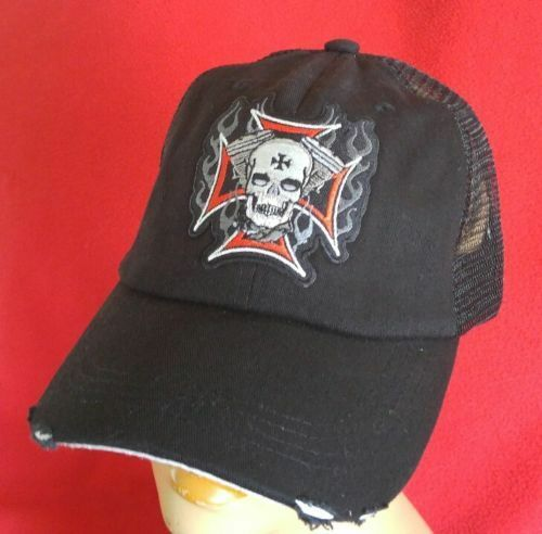Harley and Low Chopper Riders Flaming Skull Low and Profile Cotton Mesh Baseball Cap c78e89
