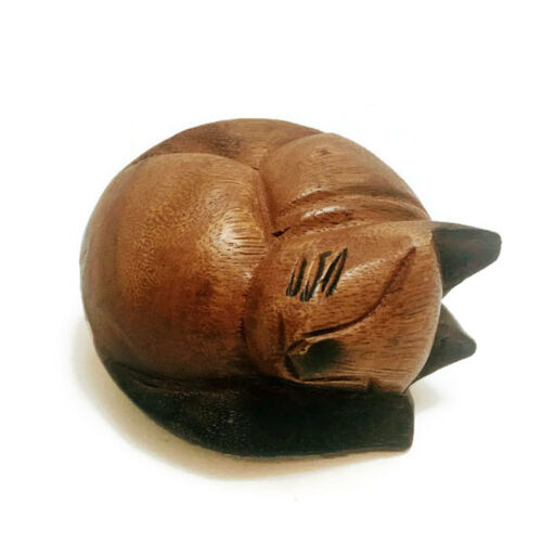 Home /& Office Decor Hand Carved Small Wooden Curled Cat Cute Kitty Cat nap