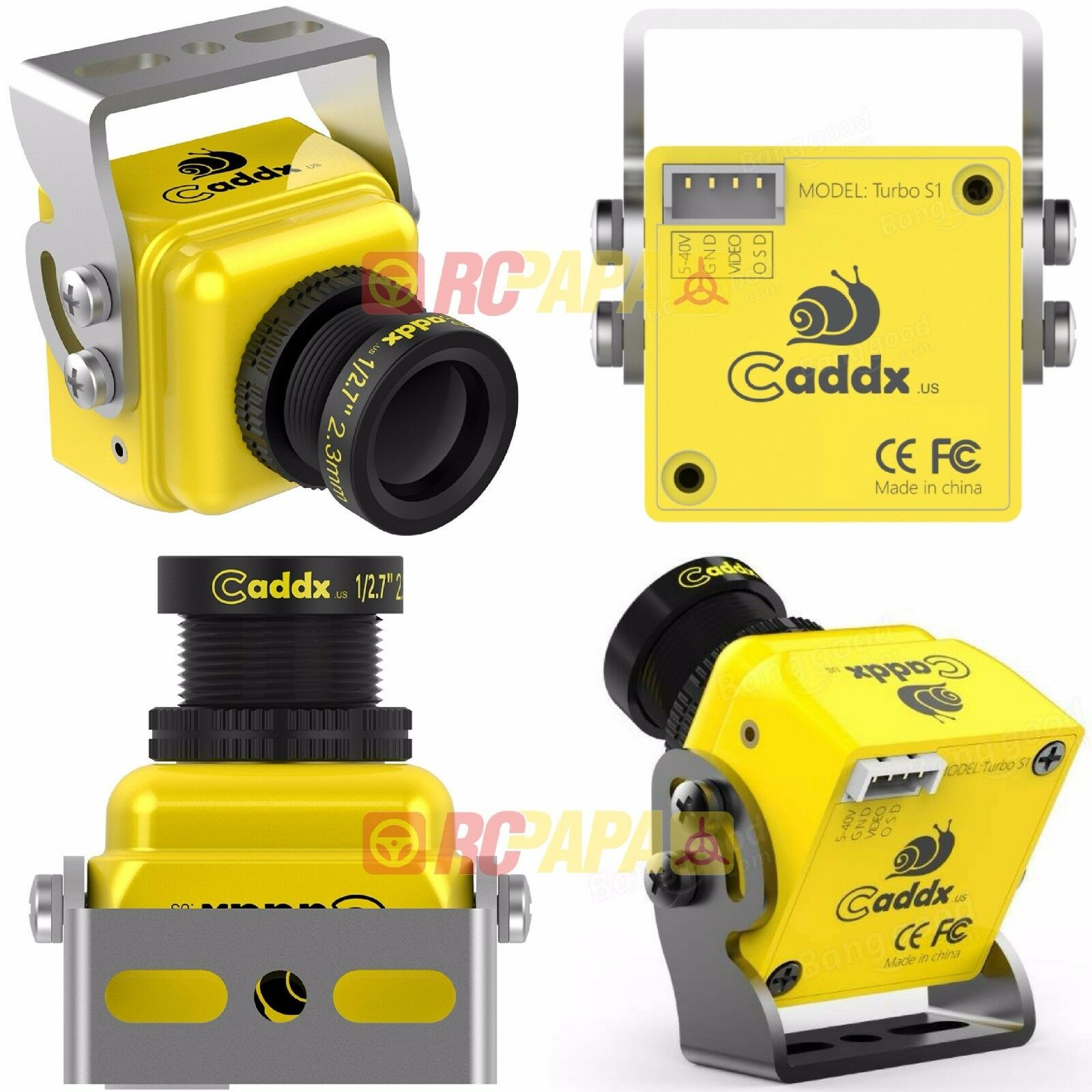 Caddx Turbo S1 1 3 CCD 600TVL FPV Camera for for for Quad Free-Style Race (Yellow PAL) 940921