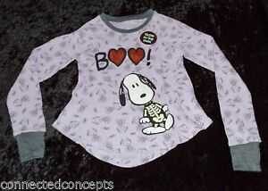 2ab2f8660 Image is loading Halloween-Peanuts-Snoopy-Skeleton-Boo-Youth-Girls-Thermal-