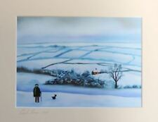 Our view of the house winter old man landscape mounted print Gordon Bruce art
