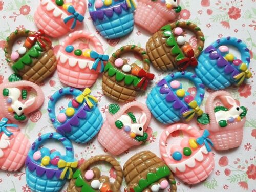 5 or 10 Mixed Cute Easter Basket Flatback Resin Embellishment Craft Cabochons UK